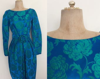 1960's Turquoise Blue & Green Floral Brocade Party Dress Size Small by Maeberry Vintage
