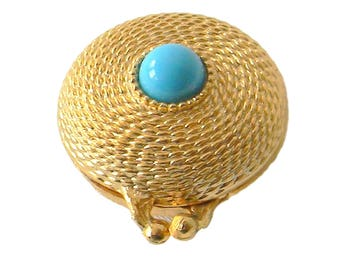 Estee Lauder Youth Dew Solid Perfume Compact Goldtone Turquoise Accent