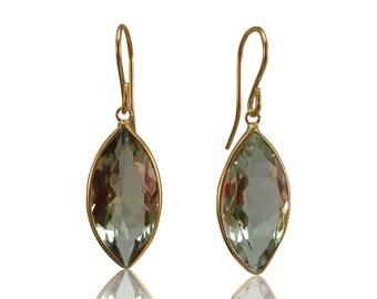 Marquise Prasiolite Dangle Earrings 14K Yellow Gold Hallmark Green Amethyst Dangle Earrings