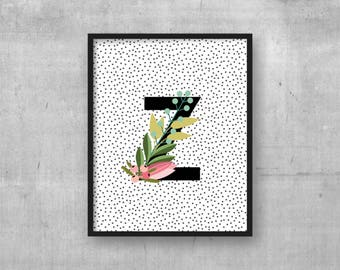 Letter Z print - Kids room wall art print - Instant download - Letter wall art - Monogram initial - Baby nursery poster - Nursery art decor