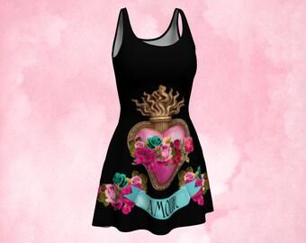 Mini dress, skater dress, tunic top, perky goth, sacred heart, heart milagro, unique clothing, gift woman, punk rock dress, gothic dress