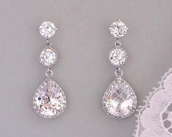 Crystal Bridal Earrings, Gold or Silver Earrings, Bridal Jewelry, Bridesmaids Earrings  CHARLIE 3