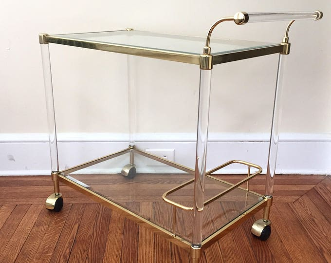 Vintage Bar Cart in Brass and Lucite