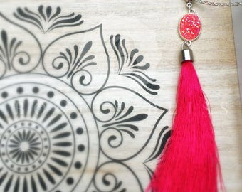 Pink Oval Druzy Tassel Necklace, Pink Druzy Necklace