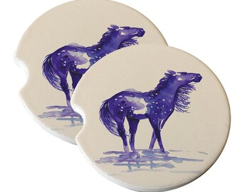 Abstract Snowflake Appaloosa in Purple Natural Sandstone Drink Coaster Set Car Home Decor Appaloosa gift Appaloosa lover Appaloosa coasters