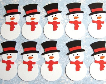 10 Snowman Die Cut Snowmen Christmas Toppers ready made Embellishments for Christmas Cards Crafts Scrapbooking Hand Made snowman toppers