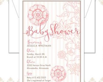 Garden Flower Baby Shower Invite, Vintage Shower Invite, Baby Shower Invite, Flower Invite, Garden Shower, Spring Shower Invitation, Flowers