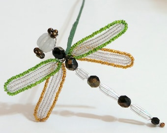 French Beaded Dragonfly Plant Stick in Green and Gold
