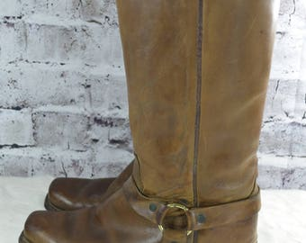 vtg DINGO mens tall harness engineer brown leather boots 8D