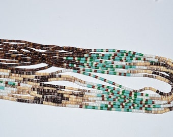 Penshell, Reconstructed Turquoise & White Clam shell Heishi Strands. Handcrafted in Philppines (2050022)