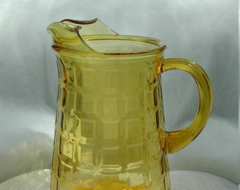 Vintage Amber Glass Pitcher-Large glass pitcher