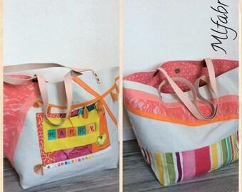 Reversible Tote, bag linen, colorful, fabric bag tote bag