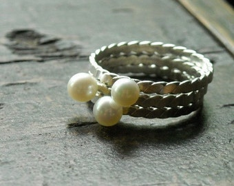 Twisted Pearl and Sterling Stacking Ring Trio- Free Shipping