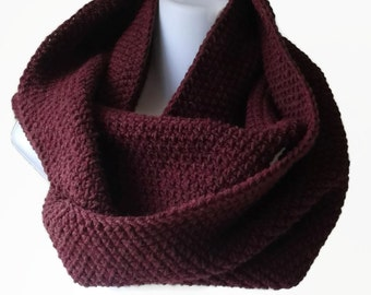 Oxblood Circle Scarf Burgundy Maroon Infinity Scarf Wool Blend or Pure Wool CHELSEA Ready to Ship - Autumn Fall Winter Gift for Her or Him