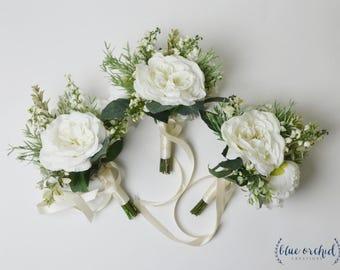 Bridesmaid Bouquet, Boho Bridesmaid Bouquet, Greenery Bouquet, Greenery Bridesmaid Bouquet, Wedding Bouquet, Wedding Flowers, White Bouquet