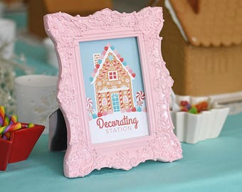 Gingerbread House Decorating Party Decorating Station 4x6 Instant Download Printable PDF Sign, Holiday Kids, Christmas, Winter, Candy, Sweet