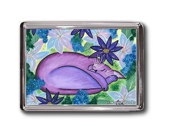 Purple Cat Magnet Dreaming Sleeping Flowers Fantasy Cat Art Framed Magnet Gifts For Cat Lovers