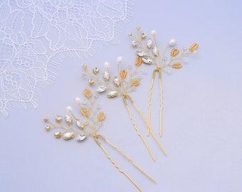 Rhinestone Hair Pins Bridal Headpiece Wedding Hair Piece Crystal Hair Piece Silver Rose Gold Hair Pins Leaf Hair Pins Crystal Hair Jewelry
