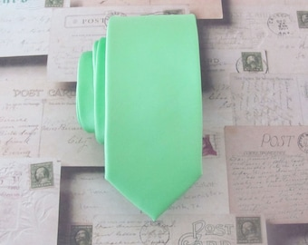 Mint Green Spearmint Skinny Necktie With *FREE* Matching Pocket Square Set