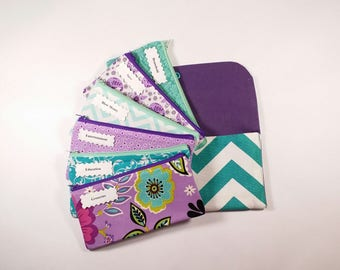 Cash Budget System, Cash Envelope Wallet -Turquoise Chevron- (It can be used with the Dave Ramsey system)