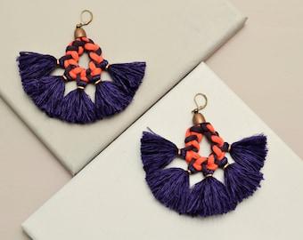 Tassel Earrings, Statement Earrings, Large Earrings, Boho Earrings, Hippie Earrings, Frida Kahlo Style, Fabric Earrings, Yarn Earrings