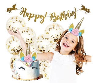 Unicorn Party Supplies Unicorn Cake Topper Unicorn Headband Happy Birthday Banner Party Unicorn Cake Unicorn Headand