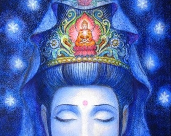 Kuan Yin meditation Buddha Art spiritual Buddhist Goddess Zen poster print of painting by Sue Halstenberg