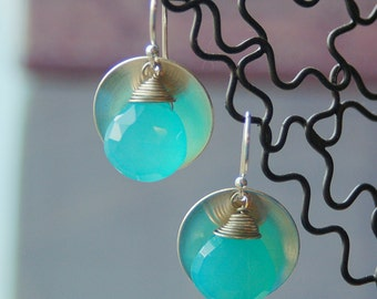 Chalcedony on Silver Earrings