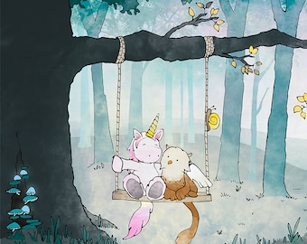 Griffin and Unicorn Art Print - Enchanted Forest, Fantasy Animals on Swing. Full Color Illustration