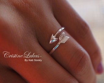 Sideways Arrow Ring - Celebrity Style Double Wrap Arrow Ring - Adjustable Ring - Midi Ring - Sterling Silver or Yellow Gold