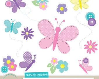 Spring Butterflies & Buttons Clipart for Digital Scrapbooking, Crafting, Invitations, Mothers Day Cards - Butterfly Clipart by A