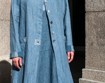 Long Linen Coat,Denim Blue Linen Coat with Two Patch Pockets and Patchwork Elements