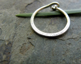 22g satin hoop-- hammered nose ring or cartilage earring--  custom hammered hoop-- primitive series-- handmade by thebeadedlily