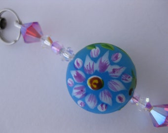 Handpainted Floral Glass Hanging Charm for Cell Phone, Flash Drive, Camera, Zipper Pull w/Iridescent Indian Pink & Clear Swarovski Crystals