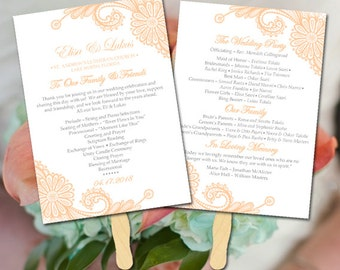 """Lace Wedding Program Fan Template - Peach Wedding Program Printable - Order of Service """"Luna Lace"""" Order of Ceremony Instant Download"""