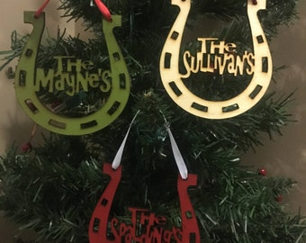 FREE SHIPPING *** Horseshoe Family Ornament - Christmas Holiday Ornament