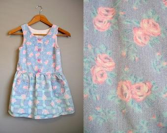 Little Girls Dress Denim Jumper Floral Plaid Jean 1980s 6X