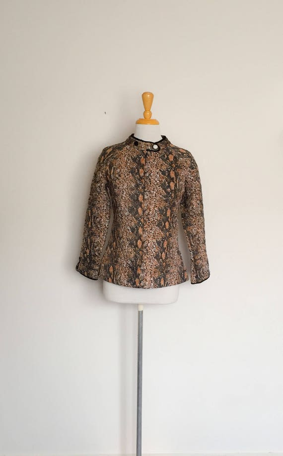 1970s Givoni Animal Print Quilted Bed Jacket Vintage