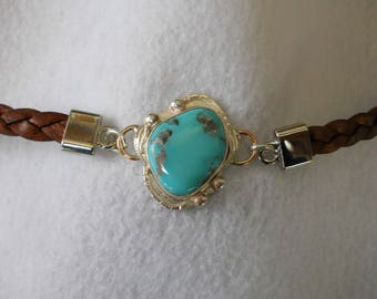 Morenci Turquoise Bracelet with Leather Strap
