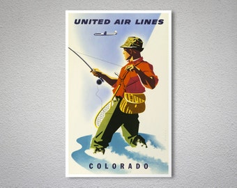 Colorado United Airlines Travel Poster - Poster Print, Sticker or Canvas Print / Gift Idea