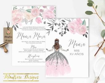 Blush Pink Floral Quinceañera Invitation, Quinceanera Invitation, Invitacion de Quinceañera, Sweet 16, Princess, Silver Glitter DIGITAL FILE