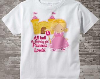 4th Birthday Shirt, Blonde Haired Princess Fourth Birthday Shirt, Personalized Cute Princess Birthday Girl Tee Shirt 10052016c