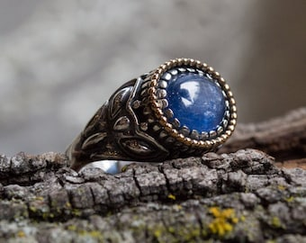 Kynite ring, silver gold ring, Sterling silver ring, bohemian ring, ornate silver ring, two tones ring, hippie ring - The Storm - R2244