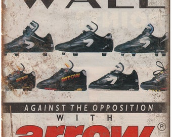 """Arrow Firepower Soccer Cleat Ad 10"""" X 7"""" Reproduction Metal Sign ZE76"""