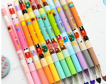 Set of 12 color gel pens for DIY scrapbook, painting, drawing, writing, sign--Lovely Animals- Bear