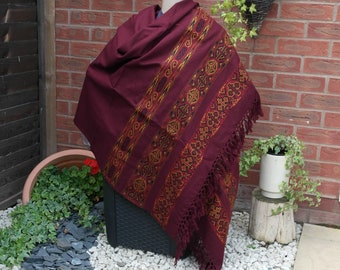 Study Room Throw Wrap Beautiful Handmade Wool Throw Stole Wrap Holiday Travel throw Blanket MAROON