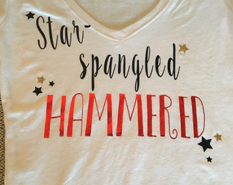 4th of July Holiday Tshirt ! Star spangled HAMMERED