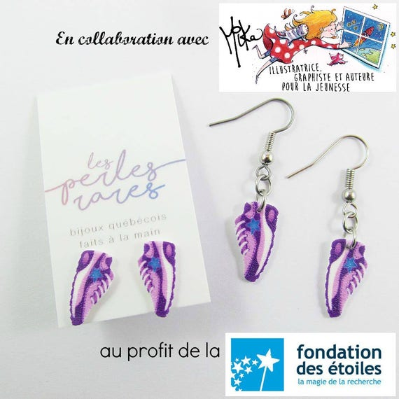 running shoes purple, mika design, blue, star, earring, shrinkplastic, foundraising, stainless stud, nickel free, handmade, les perles rares