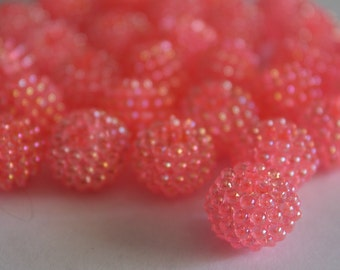 Acrylic berry beads - rose pink AB 15mm (6)