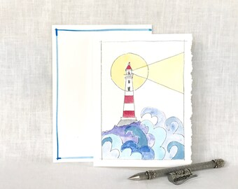Watercolor Lighthouse Greeting Card - Lighthouse Card - Lighthouse Hand Painted Watercolor Card - Nautical Handpainted Watercolor Card